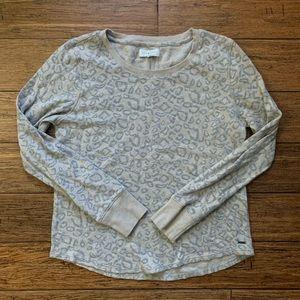 Beige Grey Subtle Leopard Cheetah Print Sweatshirt